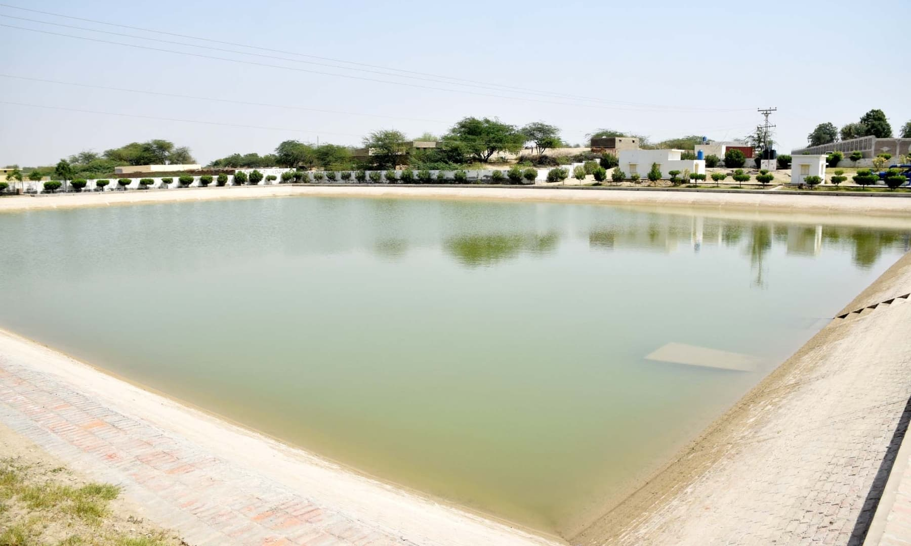A reservoir of water for a water supply project in Achhro Thar, Khipro, Sindh. — Photo by Umair Ali