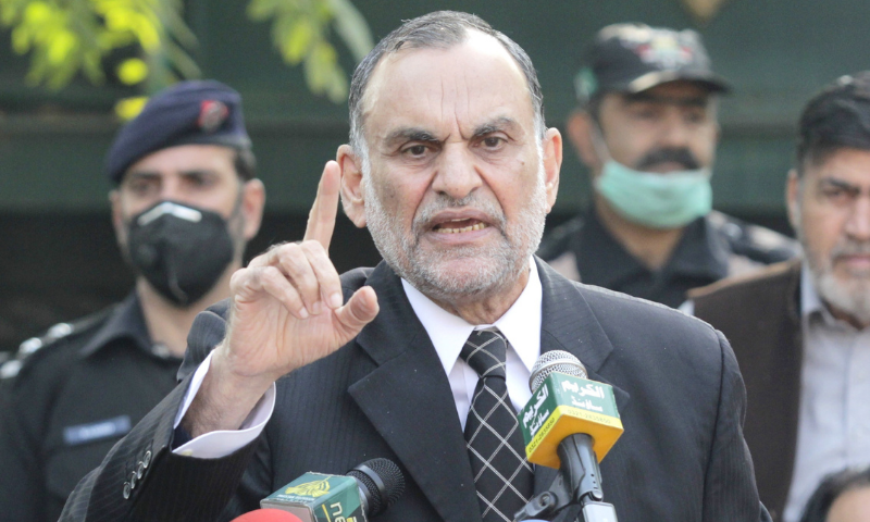 In this file photo, Minister for Railways Azam Khan Swati speaks to the media in Lahore. — PID