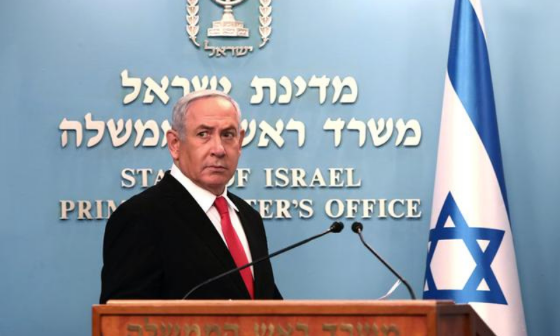 In this file photo, Israeli Prime Minister Benjamin Netanyahu delivers a speech at his Jerusalem office. — Reuters
