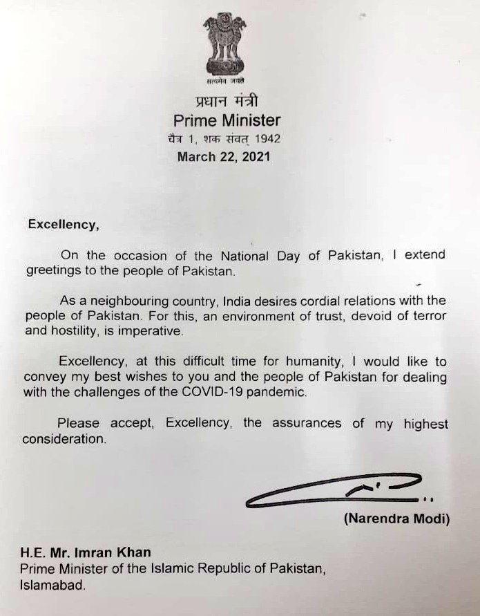 Modi's letter to PM Imran.