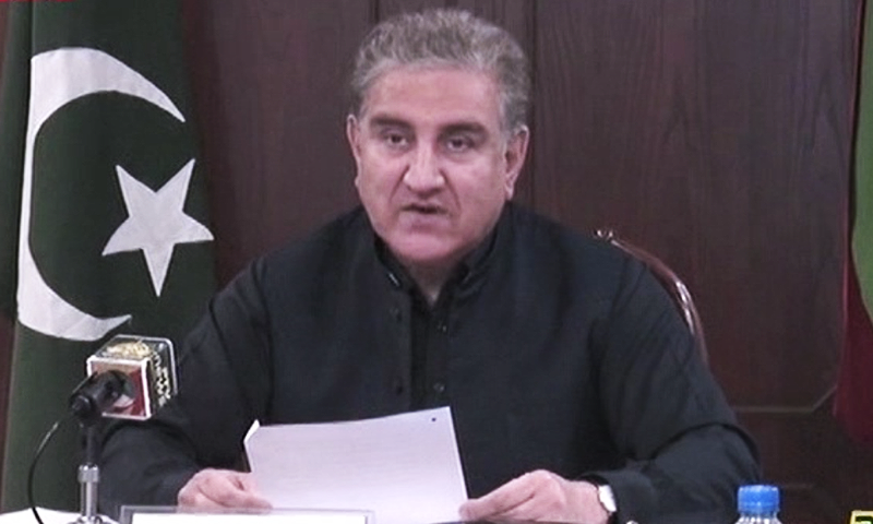 Foreign Minister Shah Mahmood Qureshi addressing the Pakistan-Hungary Dialogue in Islamabad on Thursday. — DawnNewsTV