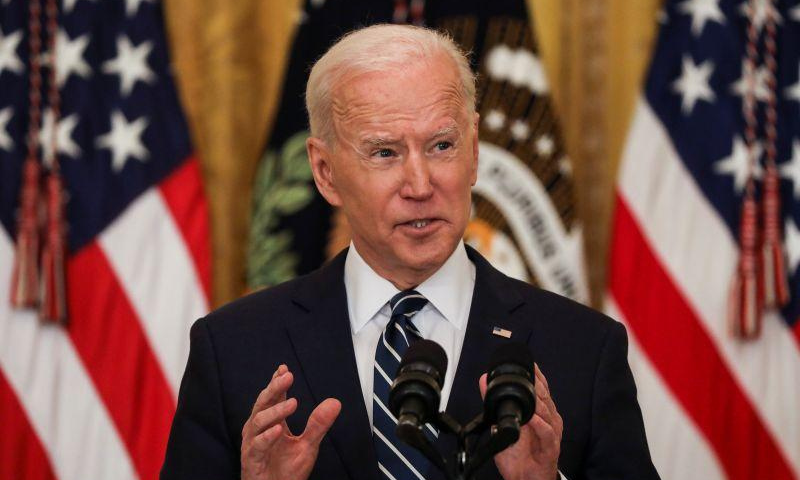 United States President Joe Biden holds his first formal news conference in the East Room of the White House in Washington, US on Thursday. — Reuters