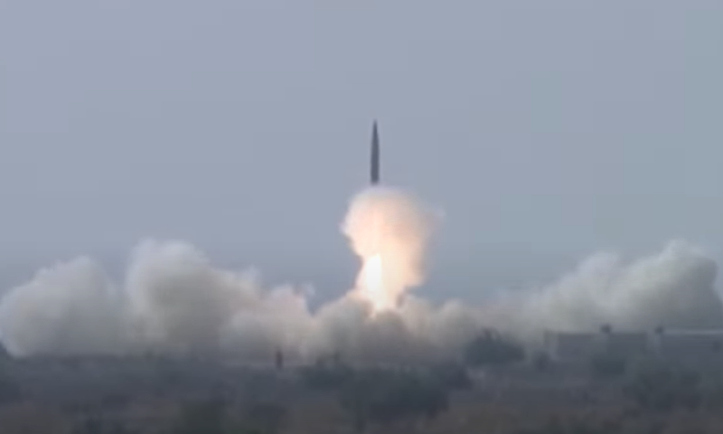 A view of the Shaheen 1-A surface-to-surface ballistic missile during the flight test. — ISPR