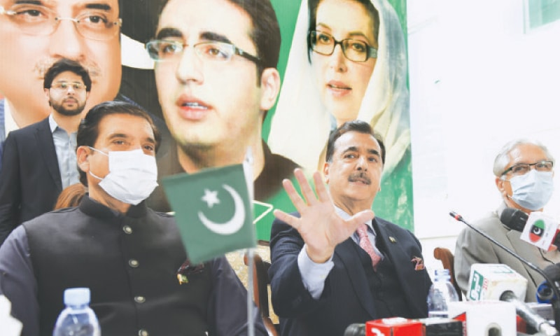 ISLAMABAD: PPP Senator Yousuf Raza Gilani addressing a press conference after the Senate secretariat notified him as leader of the opposition in the upper house of parliament on Friday.—Tanveer Shahzad / White Star