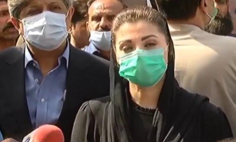 PML-N vice president Maryam Nawaz speaks to the media in Lahore. — DawnNewsTV