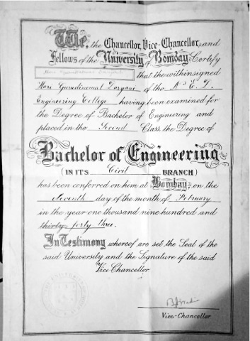 A Bachelor of Engineering degree awarded to Mr Hari Gurdinomal Daryani, a noted Sindhi writer and one of the earliest students at NED, by the University of Bombay in 1943   Courtesy Mr Ram Daryani
