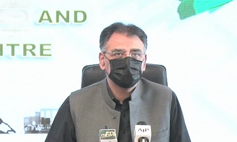 Minister for Planning and Development Asad Umar addresses the media on Saturday. — DawnNewsTV