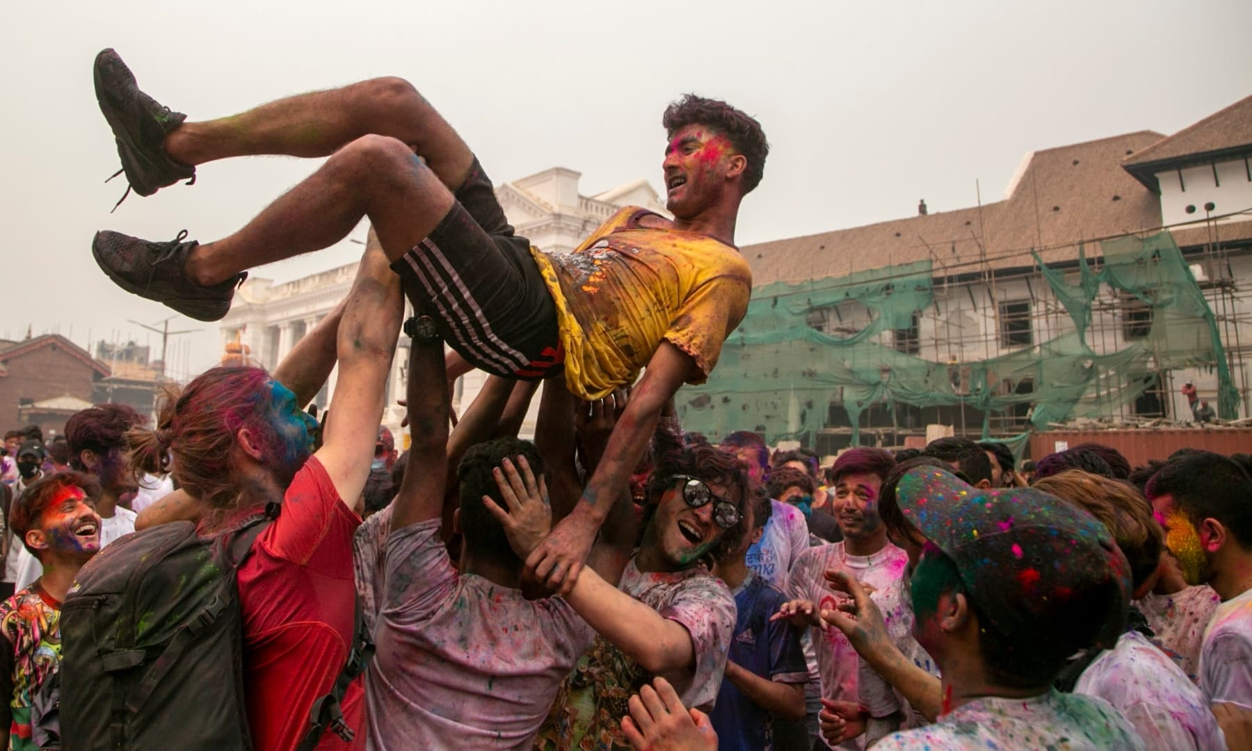 Nepalese people celebrate Holi in Kathmandu, Nepal, Sunday, March 28. — AP