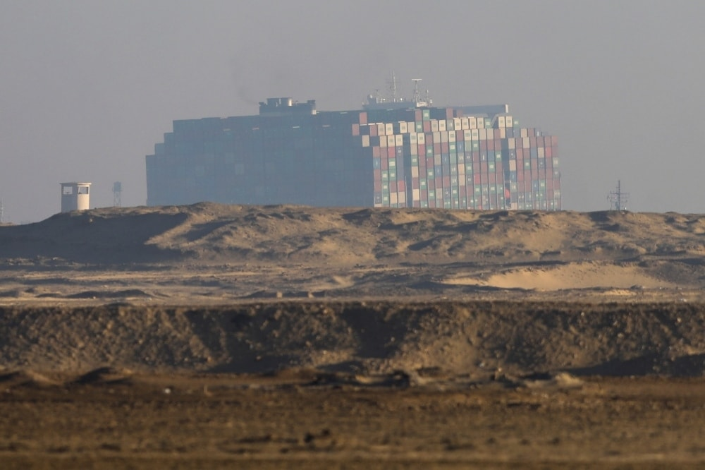 A view shows the container ship Ever Given, one of the world's largest container ships, in Suez Canal on March 29. — Reuters
