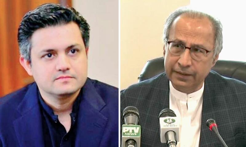 This combination file photo shows Hammad Azhar (L) and Dr Abdul Hafeez Shaikh (R). — APP/DawnNewsTV
