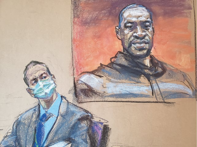 A sketch shows former Minneapolis police officer Derek Chauvin sitting in front of a picture of George Floyd during the trial.—Reuters