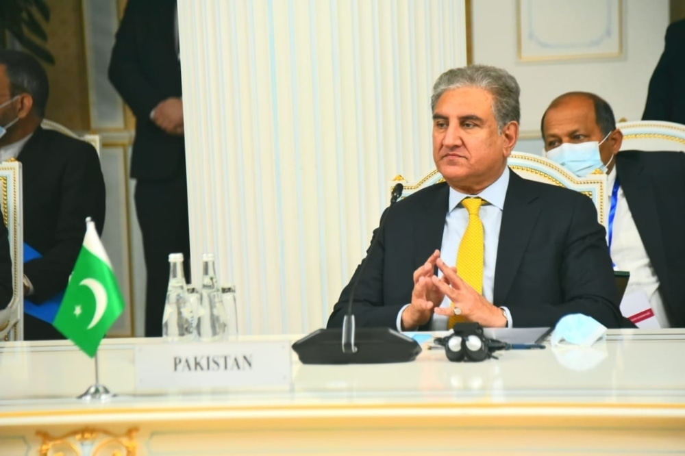 Foreign Minister Shah Mahmood Qureshi speaks during the 9th Heart of Asia–Istanbul Process (HoA-IP) Ministerial Conference. — Photo courtesy Twitter