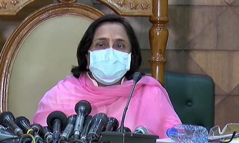 Sindh Health Minister Dr Azra Fazal Pechuho addresses a press conference in Karachi on Tuesday. — DawnNewsTV