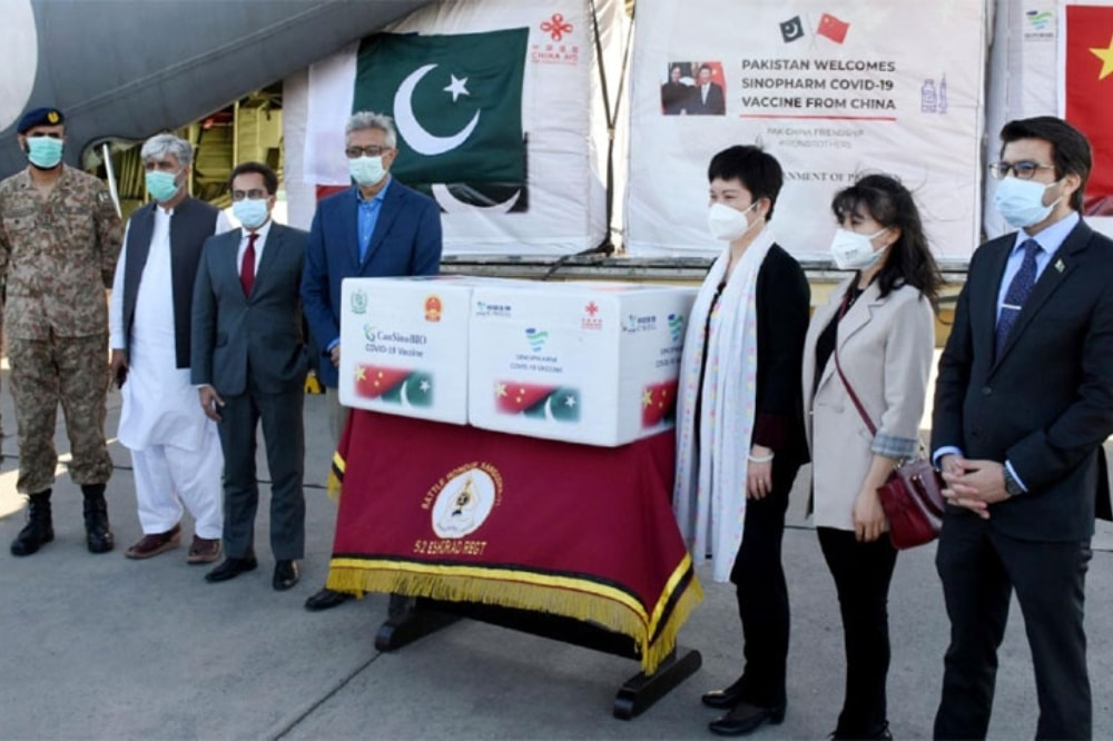The vaccine was received by Special Assistant to the Prime Minister on Health Dr Faisal Sultan at Noor Khan Airbase.  - Photo courtesy: Radio Pakistan