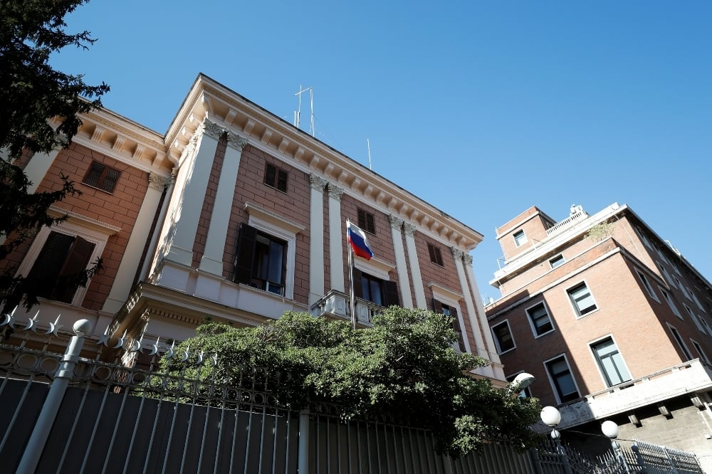 General view of the Russian Embassy after a Russian army official, who is accredited with the embassy, and an Italian navy captain were arrested on suspicion of spying, in Rome on March 31. — Reuters