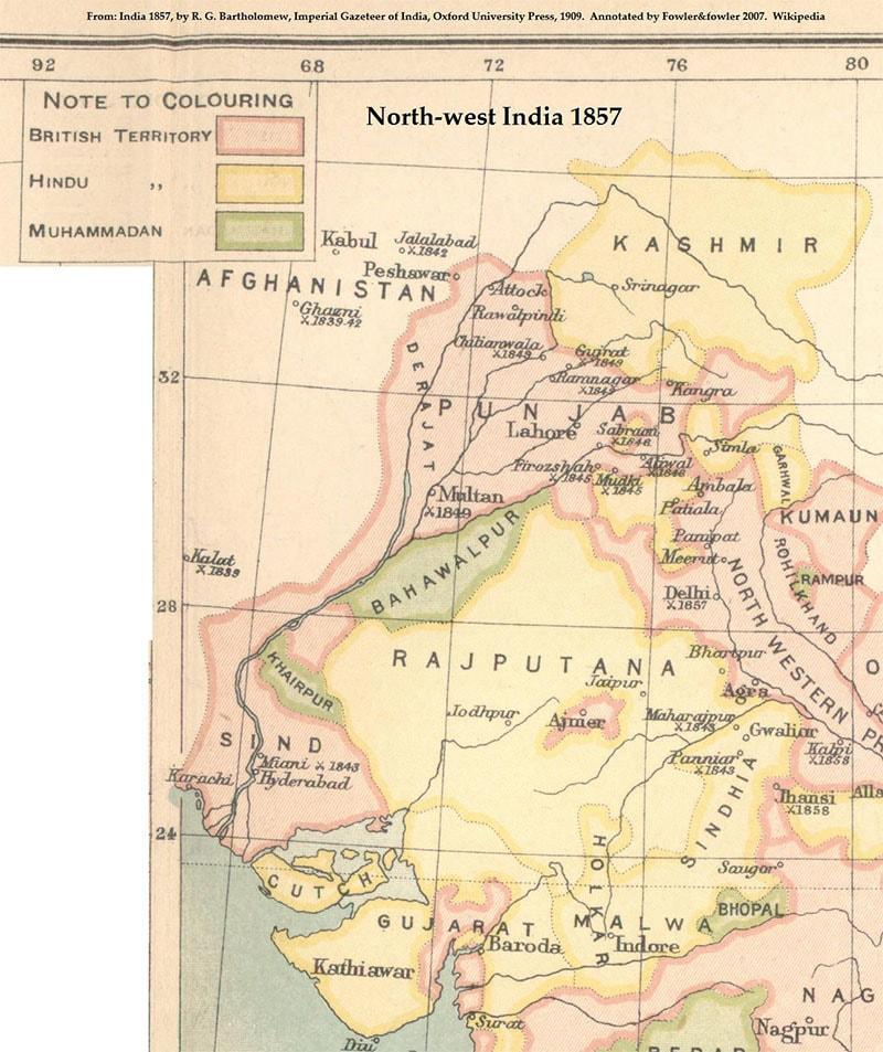 1857ء میں ہندوستان کا نقشہ، تصویر — امپیریئل گزیٹیر آف انڈیا