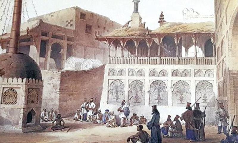 1800ء کی دہائی کے دوران سیہون میں لعل شہباز قلندر کی درگاہ کا منظر، تصویر — محکمہ ثقافت سندھ