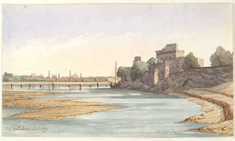 دریائے راوی سے لاہور کا منظر (1849ء)، تصویر — برٹش لائبریری