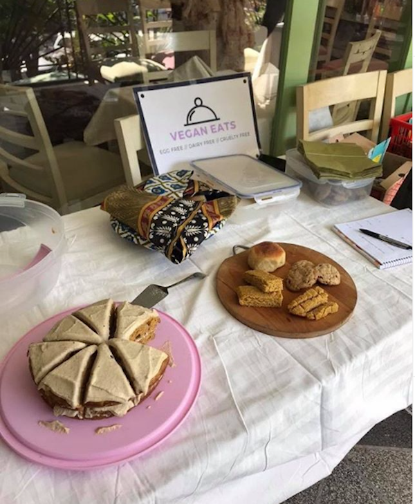 A farmer's market spread of baked goods by @veganeatsisb in Islamabad.