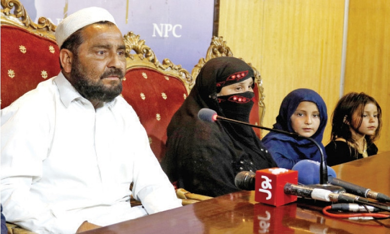 Parents of Farishta addresses a press conference at the National Press Club on Thursday. — White Star