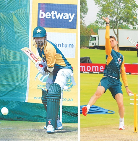 CENTURION: Pakistan captain Babar Azam (L) and fast bowler Shaheen Shah Afridi in action during a net practice session at the SuperSport Park on Thursday.—Courtesy PCB