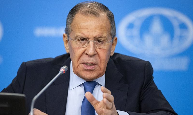 Russian Foreign Minister Sergey Lavrov gestures while speaking during his annual roundup news conference summing up his ministry's work in 2019, in Moscow, Russia on Jan 17, 2020. — AP