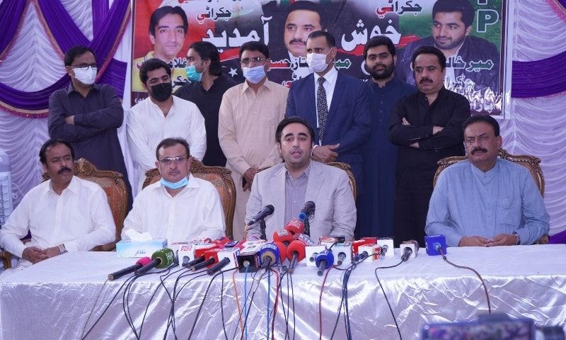 PPP Chairman Bilawal Bhutto-Zardari addresses a press conference with local PPP leaders in Jacobabad. — Photo by Gul Sarki