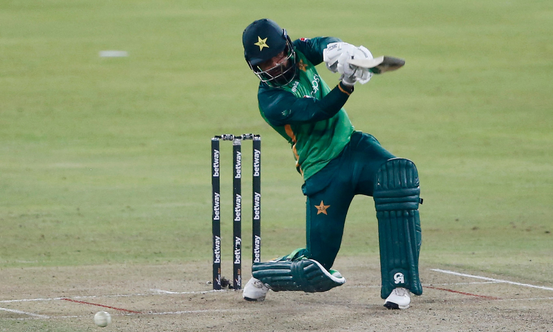 Shadab Khan watches the ball after playing a shot during the first one-day international (ODI) cricket match between South Africa and Pakistan at SuperSport Park in Centurion on Friday. — AFP