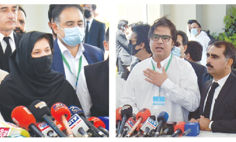 ISLAMABAD: PML-N candidate for NA-75 constituency Nosheen Iftikhar talking to media outside the Supreme Court building after the verdict was announced on Friday. (right) PTI candidate Ali Asjad Malhi speaking to reporters. —Tanveer Shahzad / White Star