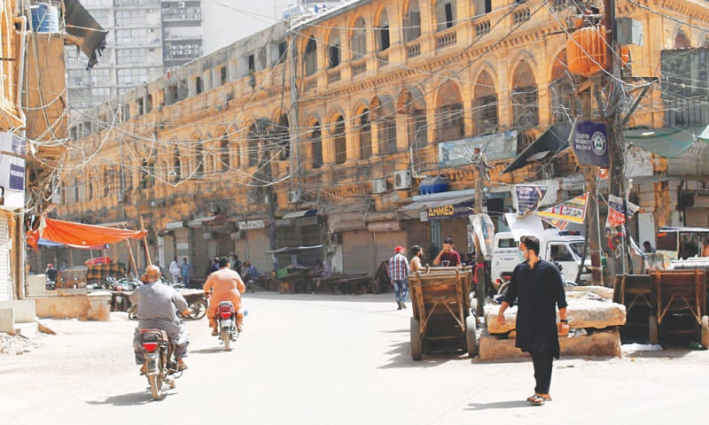 A market in the old city area is closed on Saturday as part of the lockdown measures in certain parts of the metropolis imposed by the administration to control growing incidents of Covid-19.—PPI