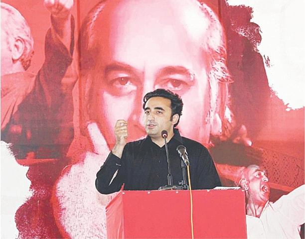 NAUNDERO: PPP chairman Bilawal Bhutto-Zardari addresses a ceremony held to mark the death anniversary of PPP  founder Zulfikar Ali Bhutto on Sunday.—PPI