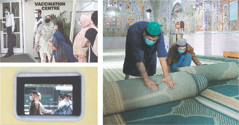 (Clockwise) People wait for their turn to receive a dose of Russia's Sputnik V vaccine at a private medical facility in Karachi on Monday. Two men roll prayer carpets from the main hall of a mosque in Rawalpindi as required under the guidelines issued by the government to prevent the spread of coronavirus ahead of the holy month of Ramazan. Passengers wearing facemasks walk at a railway station in Karachi. —AFP / Mohammad Asim-White Star / AFP