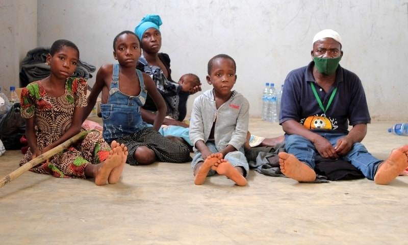 Adelino Alberto and his family who fled an attack claimed by Islamic State-linked insurgents on the town of Palma, are seen at a temporary displacement centre in Pemba, Mozambique, April 3. — Reuters