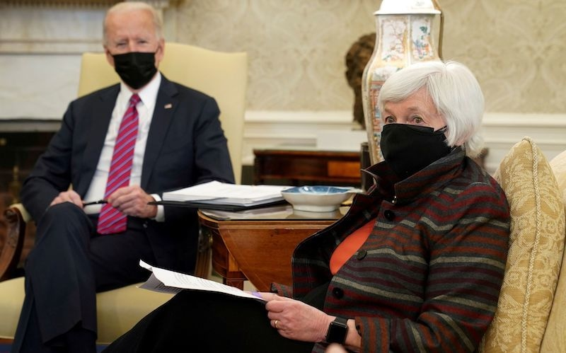 US President Joe Biden meets with Treasury Secretary Janet Yellen in the Oval Office at the White House in Washington, US on January 29, 2021. — Reuters/ File
