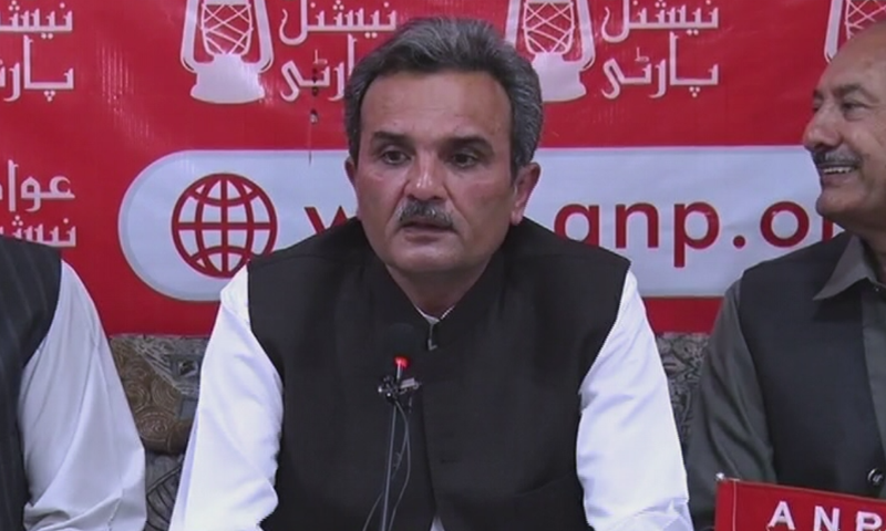 ANP central vice-president Ameer Haider Khan Hoti addresses a press conference on Tuesday. — DawnNewsTV