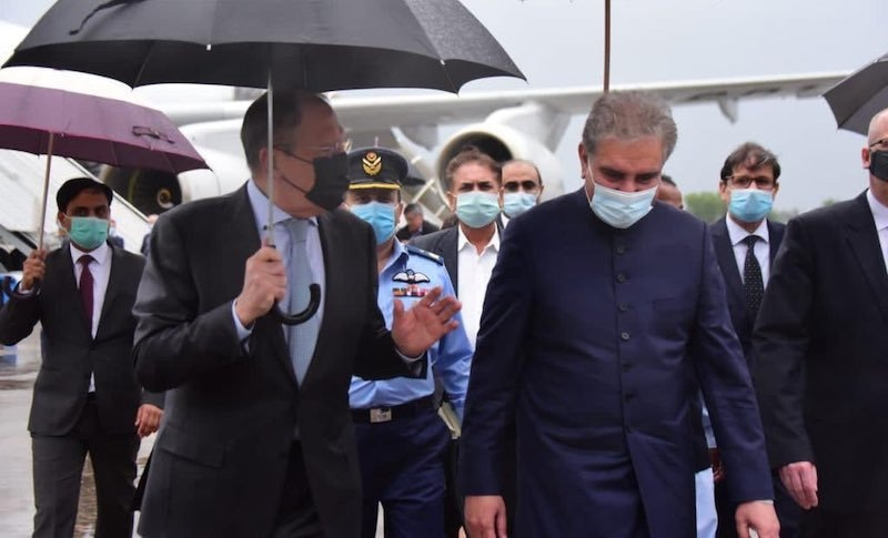 Russian Foreign Minister Sergey Lavrov arrived on Tuesday for a two-day visit in Islamabad, where he was received by his Pakistani counterpart, Shah Mehmood Qureshi.  — Photo courtesy MoFA Twitter