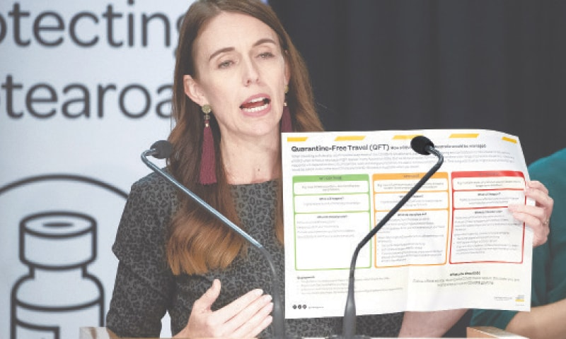 WELLINGTON: New Zealand's Prime Minister Jacinda Ardern announces conditions for quarantine-free travel between her country and Australia on Tuesday.—AP