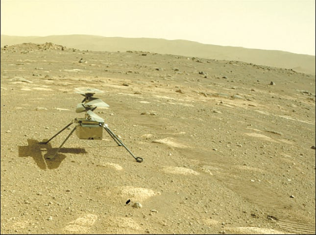 THIS Nasa photo obtained on Tuesday shows Ingenuity helicopter on Mars.—AFP