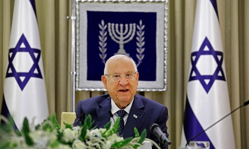 Israeli President Reuven Rivlin attends a consultation meeting with representatives of parties elected to parliament (Knesset) at his residence in Jerusalem on April 5. - AFP