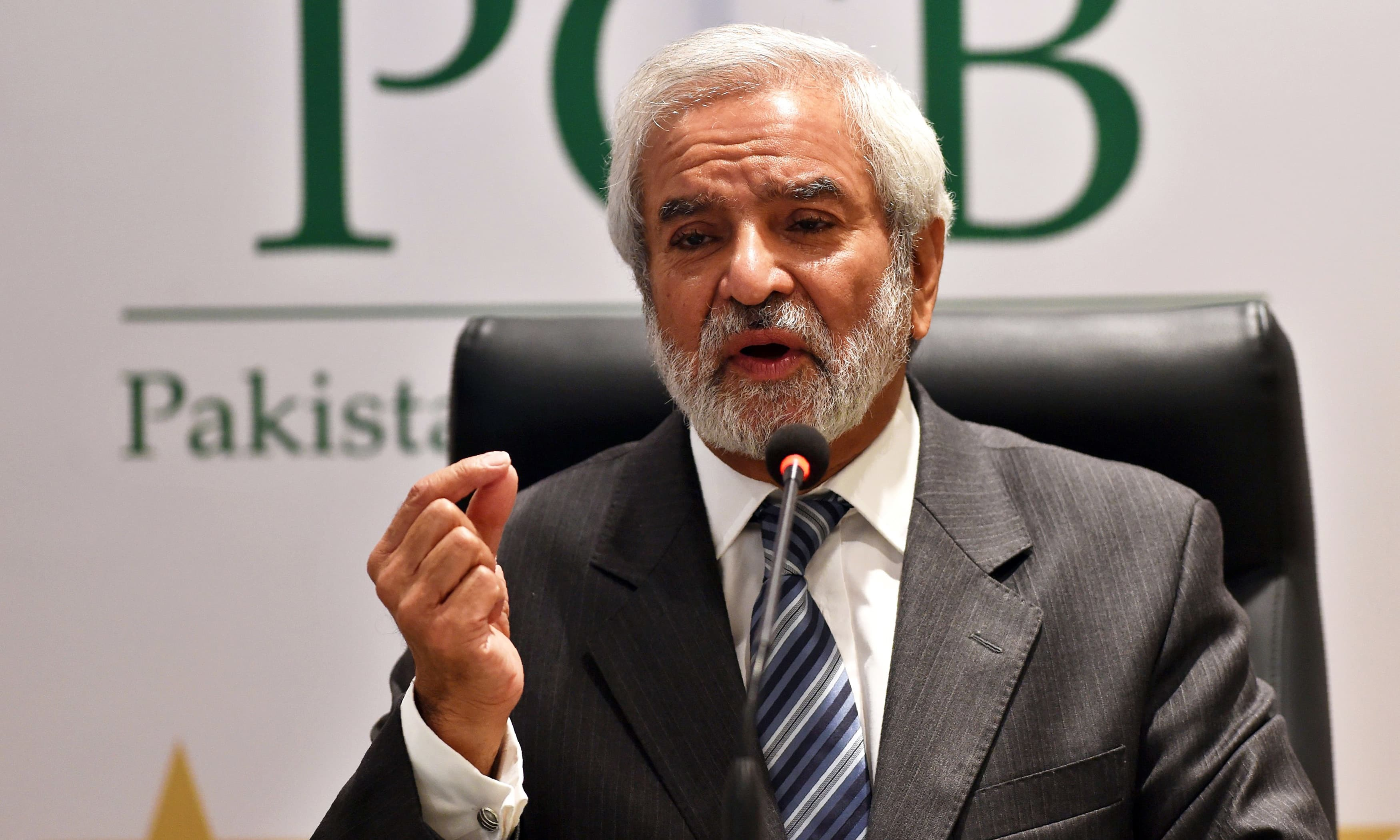 In this file photo, PCB Chairman Ehsan Mani addresses a press conference in Lahore. —AFP/File