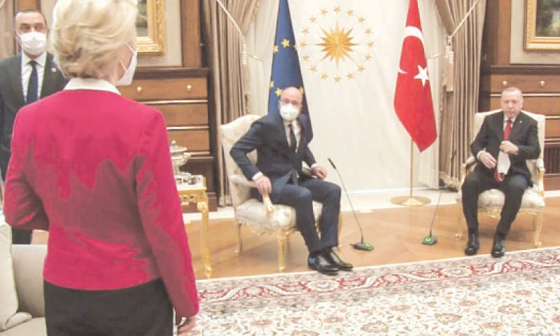 THIS video grab taken from footage released by the Turkish Presidency shows Turkish President Recep Tayyip Erdogan receiving EU Council President Charles Michel (centre) at the Presidential Complex in Ankara. President of EU Commission Ursula von der Leyen is standing on the left.—AFP