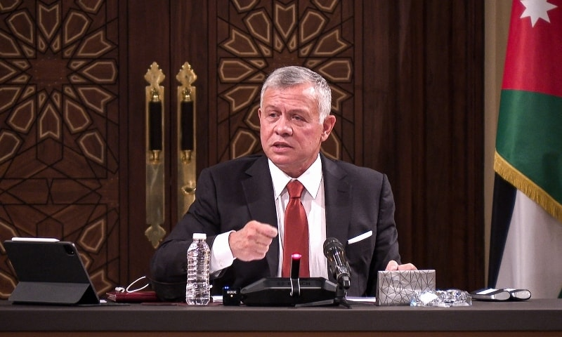 In this file handout picture released by the Jordanian Royal Palace on March 23, Jordanian King Abdullah II speaks during a meeting at the House of Representatives in the capital Amman. — AFP