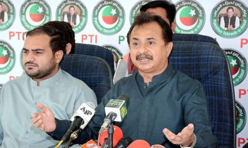 In this Nov 2020 file photo, Leader of the Opposition in the Sindh Assembly Haleem Adil Sheikh addresses a press conference in Karachi. — APP