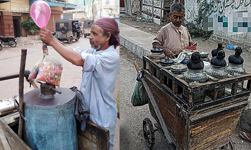 چٹنیاں، کھجور کے لڈو اور ننھی منی مچھلیاں بیچنے والا بنگالی اور گیس غبارے بیچنے والا