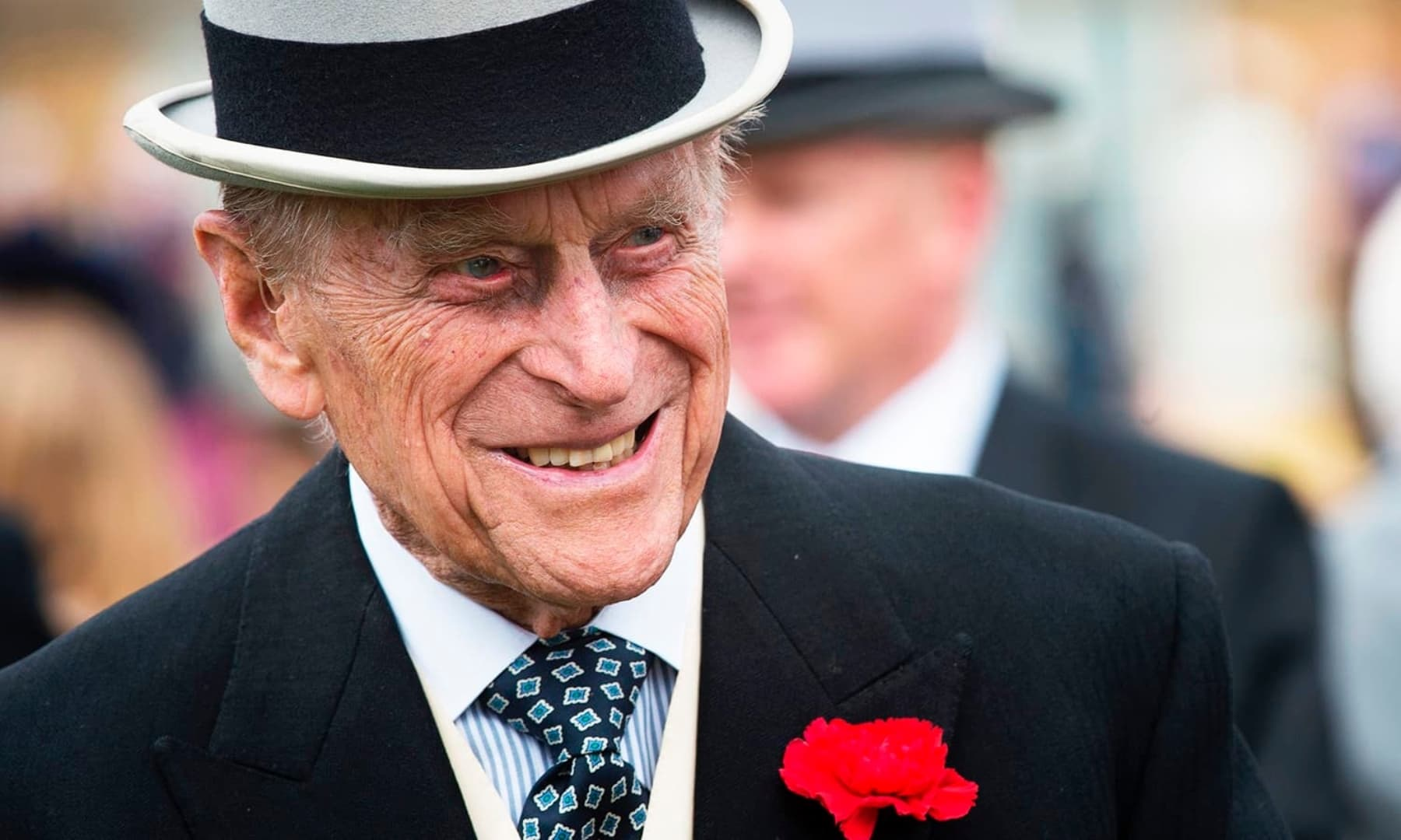 Britain's Prince Philip greets guests at a garden party at Buckingham Palace in London. — AFP/File
