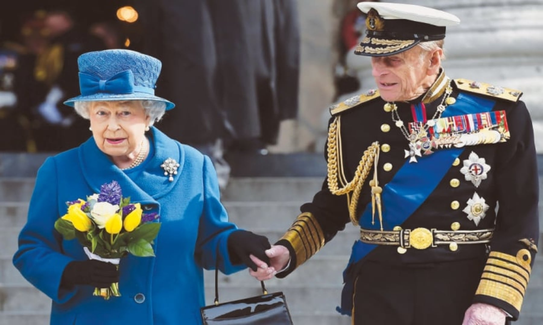 Queen Elizabeth and Prince Philip, Duke of Edinburgh, leave St Paul's Cathedral on Friday after attending a memorial service to mark the end of Britain's combat operations in Afghanistan. — AFP/File