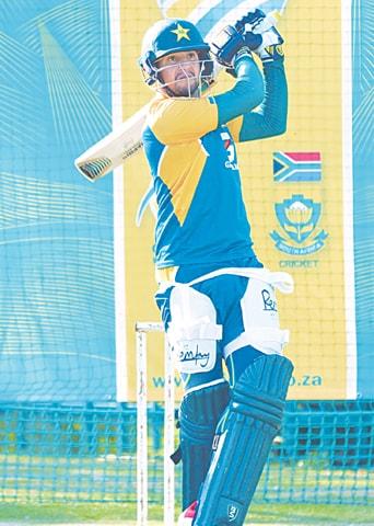 PAKISTAN batsman Haider Ali takes part in a nets session.—PCB