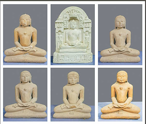 PHOTO shows the six recovered statues.