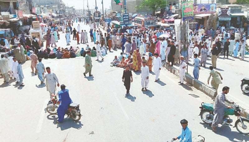 This file photo shows members of the All Balochistan Employees and Workers Grand Alliance blocking RCD Highway as they hold a demonstration for acceptance of their demands.—PPI/File