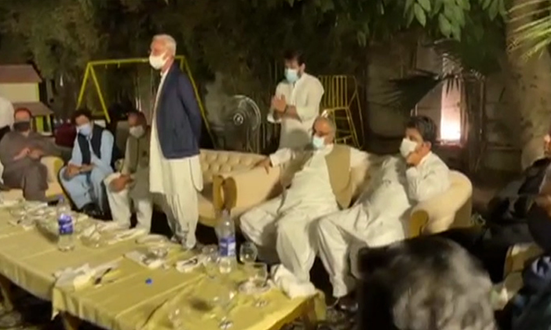 Jahangir Tareen threw a dinner for around two dozen party lawmakers, including two ministers, at his residence in the evening. — DawnNewsTV